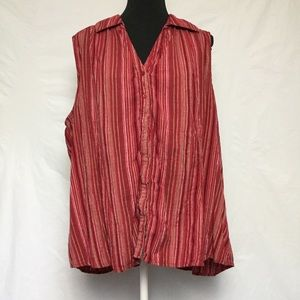 Women's St John's Bay Red Pinstripe Blouse Size 1X